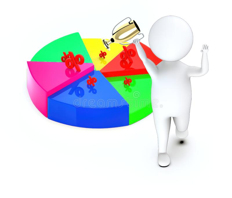 3d white guy , walk with holding golden trophy -pie chart percentage sign. 3d rendering royalty free illustration