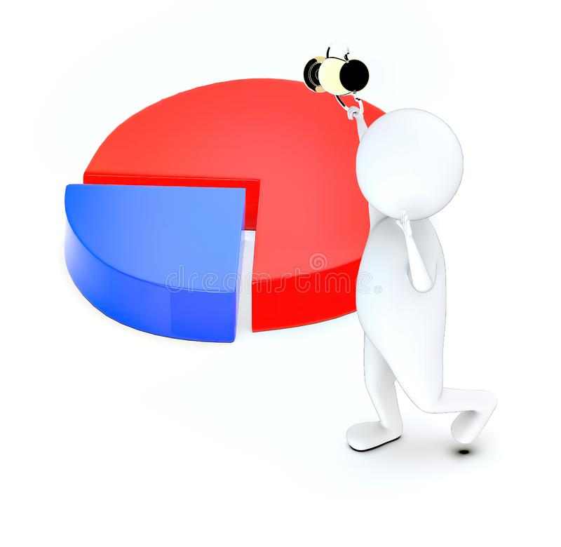 3d white guy , walk with holding golden trophy -pie chart. 3d rendering royalty free illustration