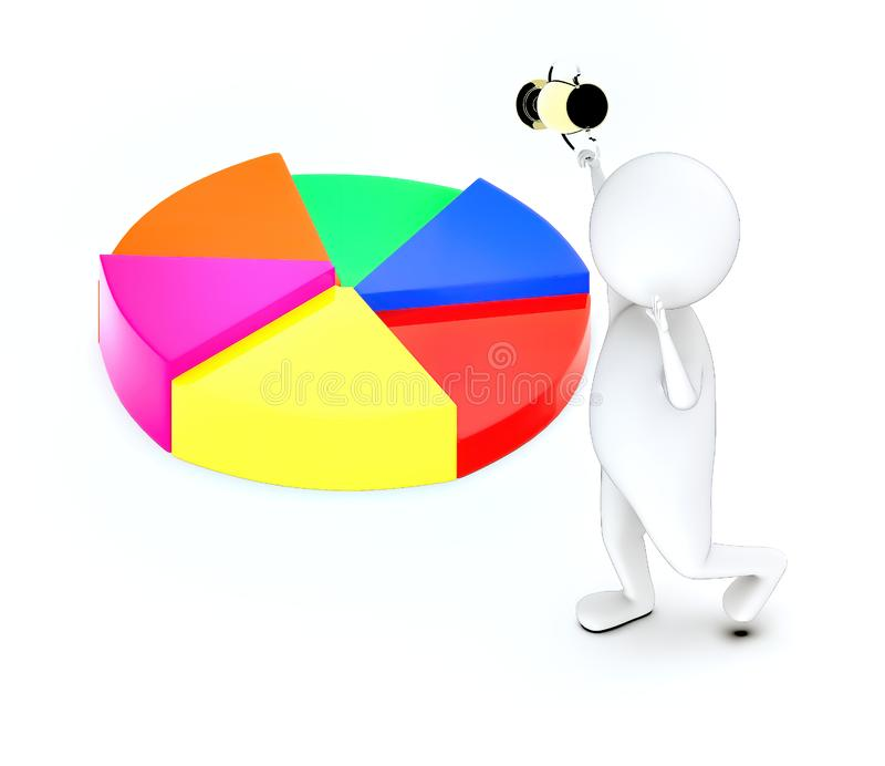 3d white guy , walk with holding golden trophy -pie chart. 3d rendering vector illustration