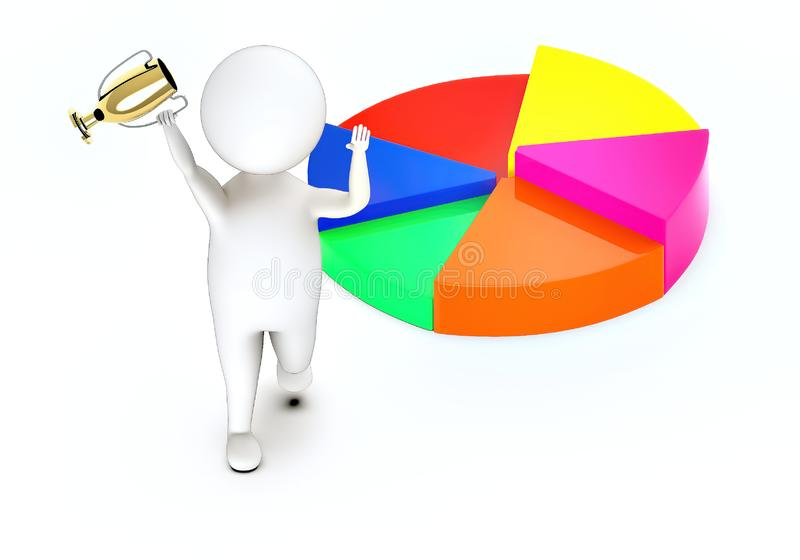 3d white guy , walk with holding golden trophy -pie chart. 3d rendering stock illustration