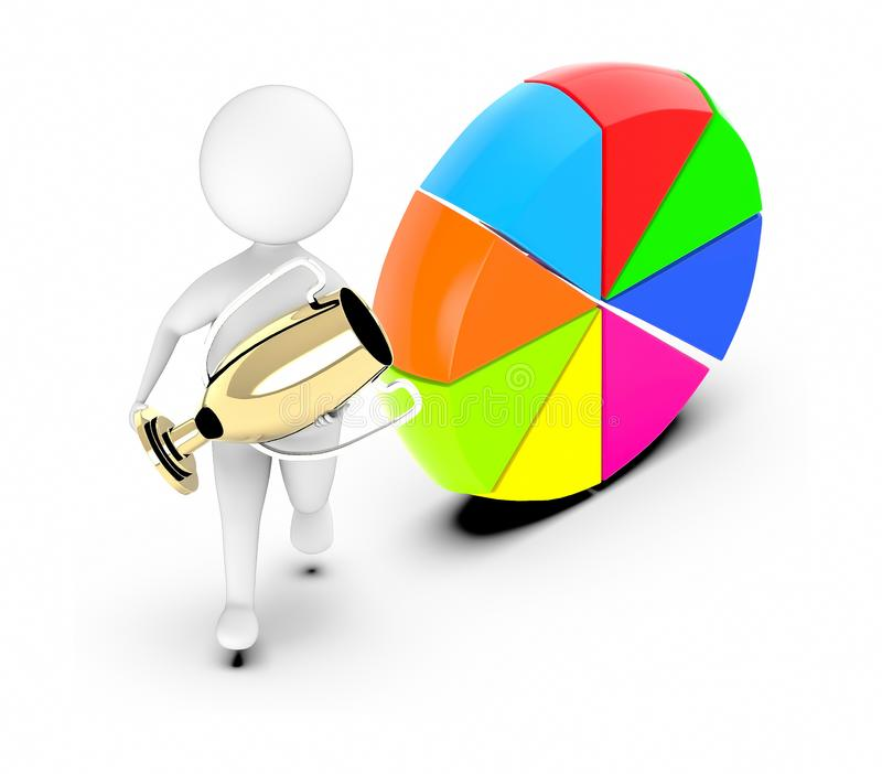 3d white guy , walk with holding golden trophy -pie chart vertical stand on ground. 3d rendering stock illustration