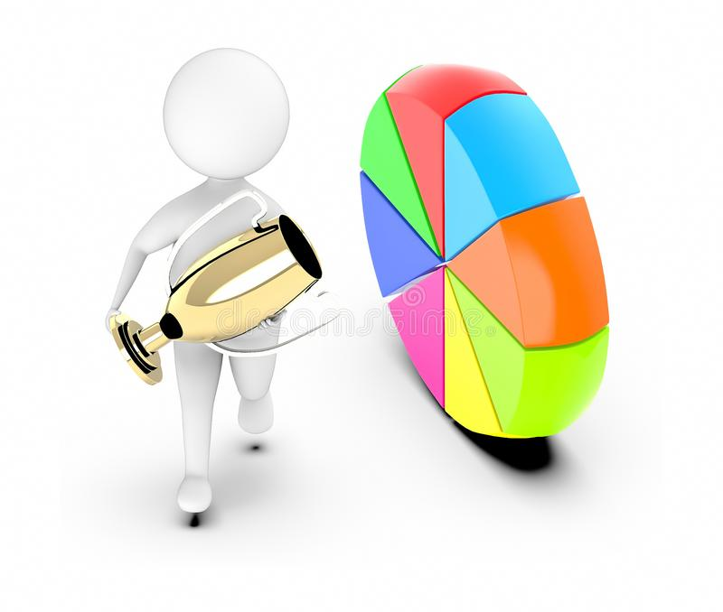 3d white guy , walk with holding golden trophy -pie chart vertical stand on ground. 3d rendering vector illustration