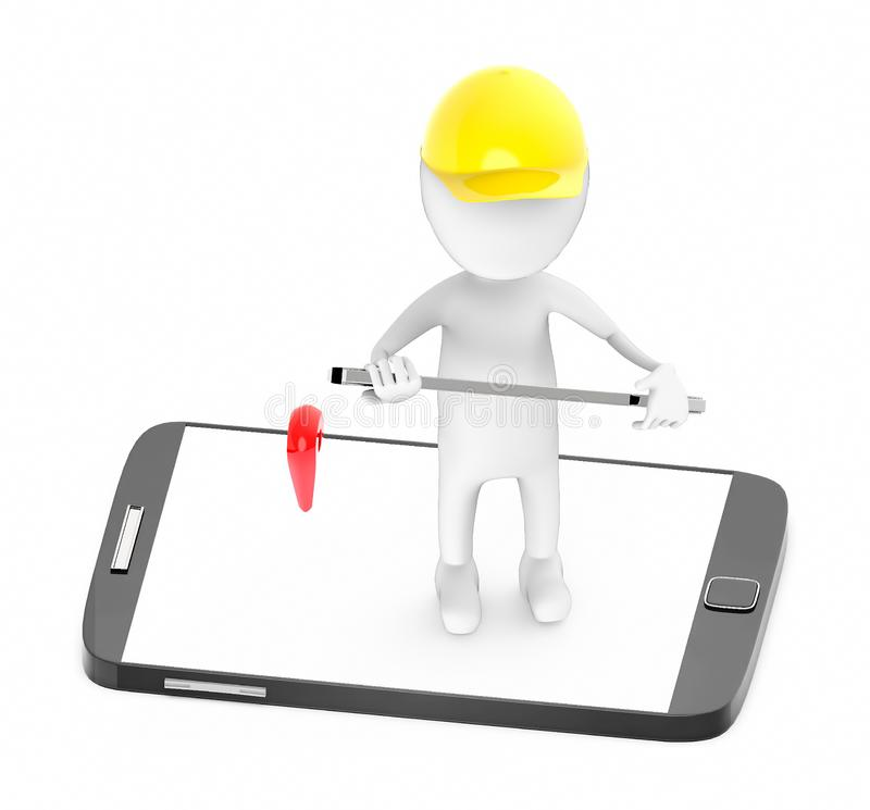 3d white guy , wear safety helmet and hold wrench -mobile phone and location sign royalty free illustration
