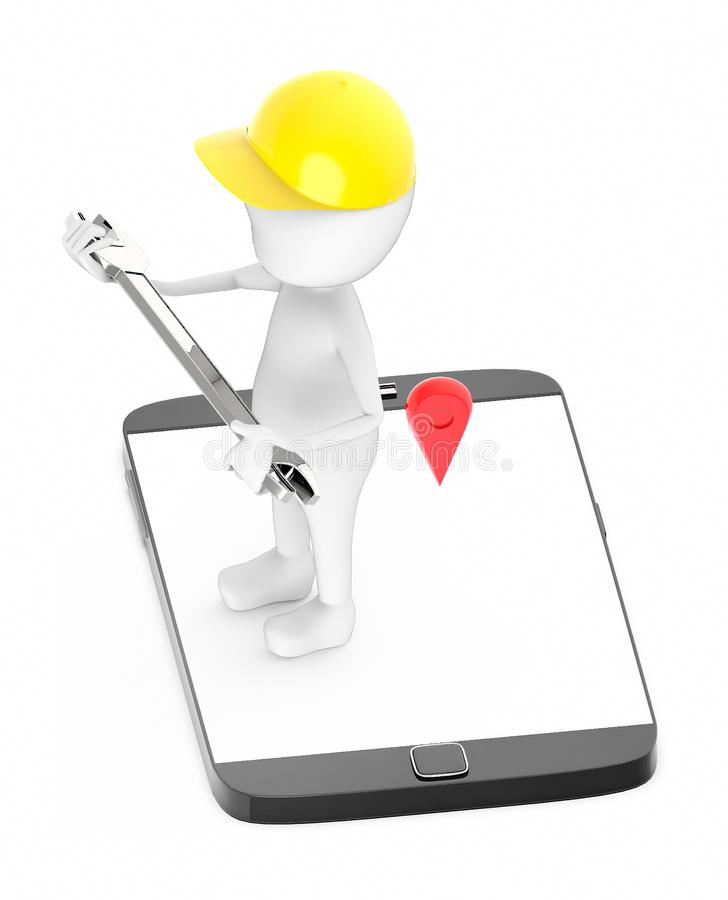 3d white guy , wear safety helmet and hold wrench -mobile phone and location sign vector illustration