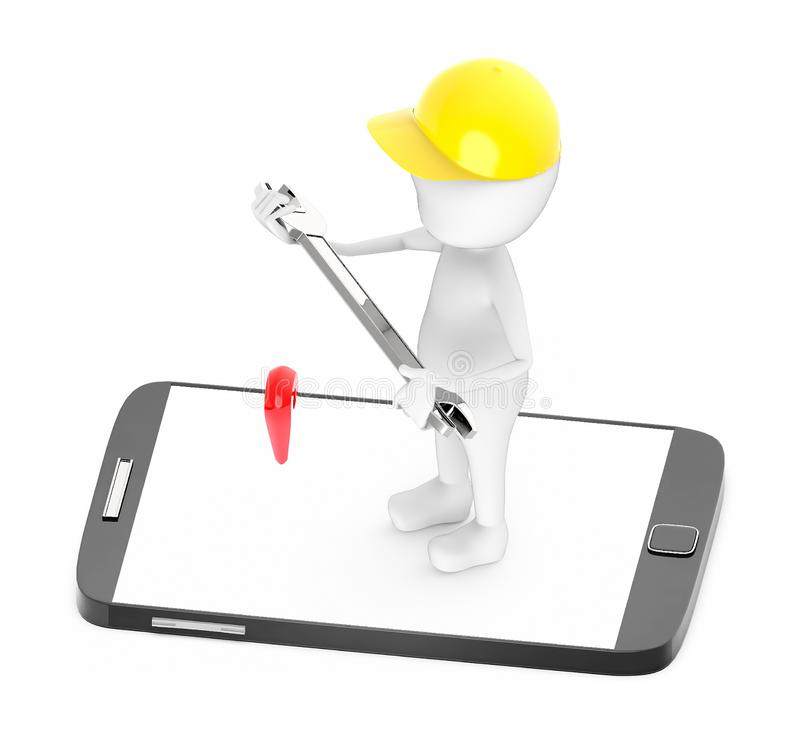 3d white guy , wear safety helmet and hold wrench -mobile phone and location sign stock illustration