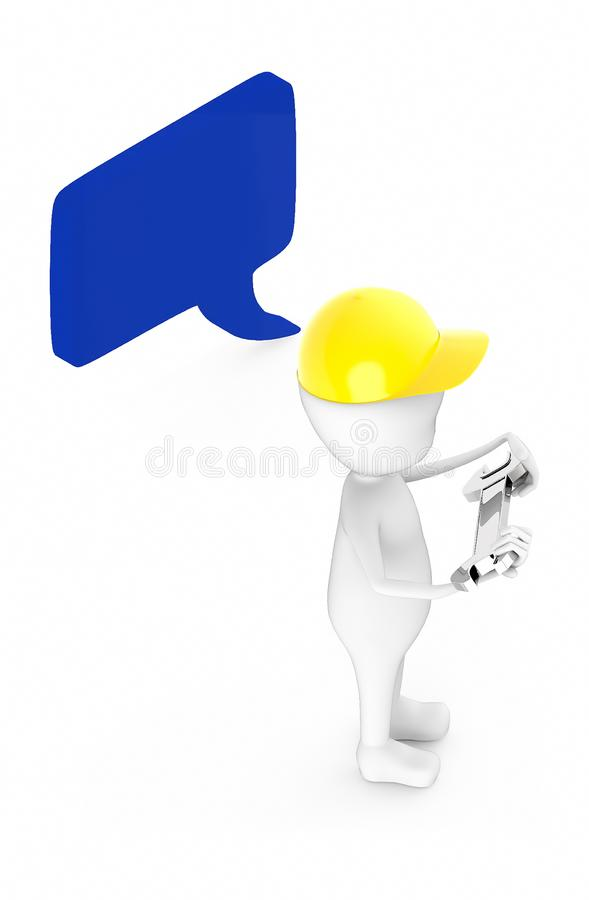 3d white guy , wear safety helmet and hold wrench -Speech bubble curved edge rectanglular vector illustration