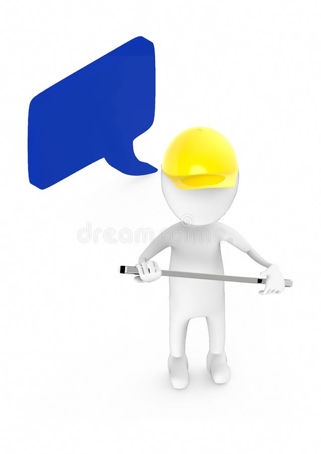3d white guy , wear safety helmet and hold wrench -Speech bubble curved edge rectanglular stock illustration