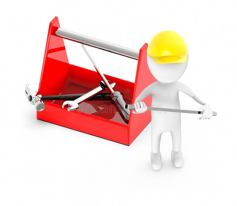 3d white guy , wear safety helmet and hold wrench -toolkit royalty free illustration