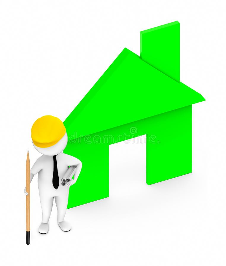3d white guy , wearing hard helmet holding drafts and a pencil , architect , engineer -green color house vector illustration