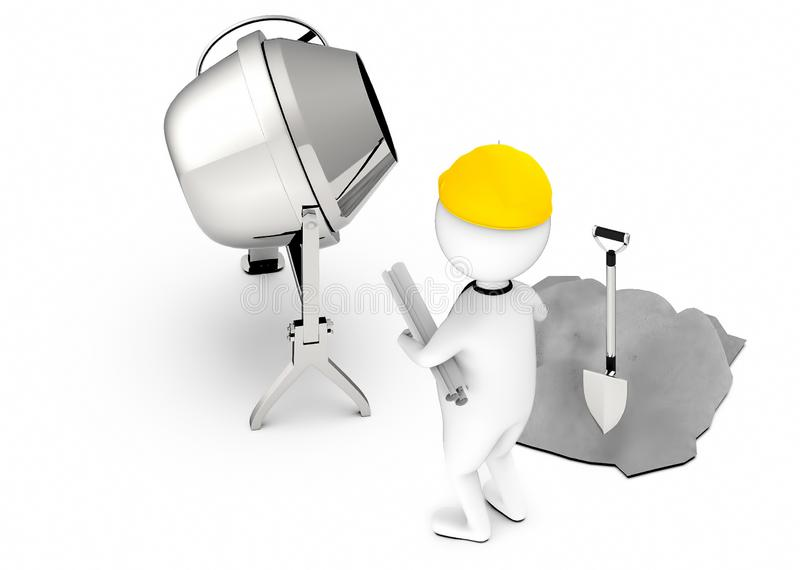 3d white guy , wearing safety helmet and hold drafts-concrete mixer ,cement and shovel stock illustration