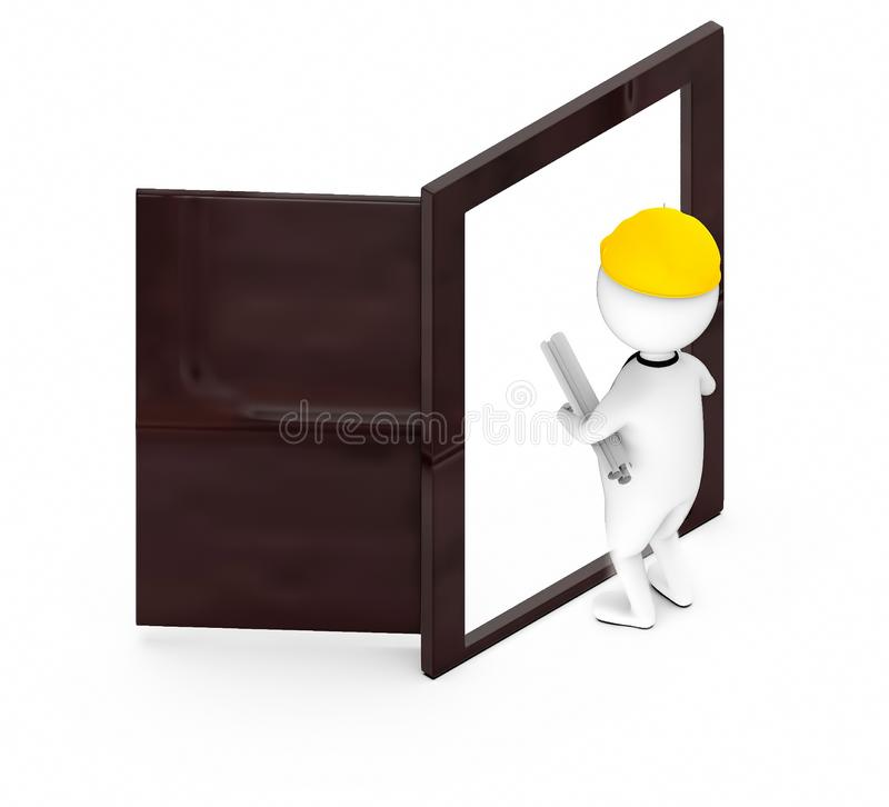 3d white guy , wearing safety helmet and hold drafts-Opened Door vector illustration
