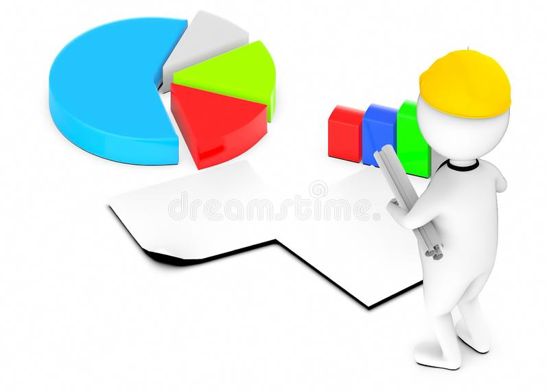 3d white guy , wearing safety helmet and hold drafts-pie chart bar graph papers royalty free illustration