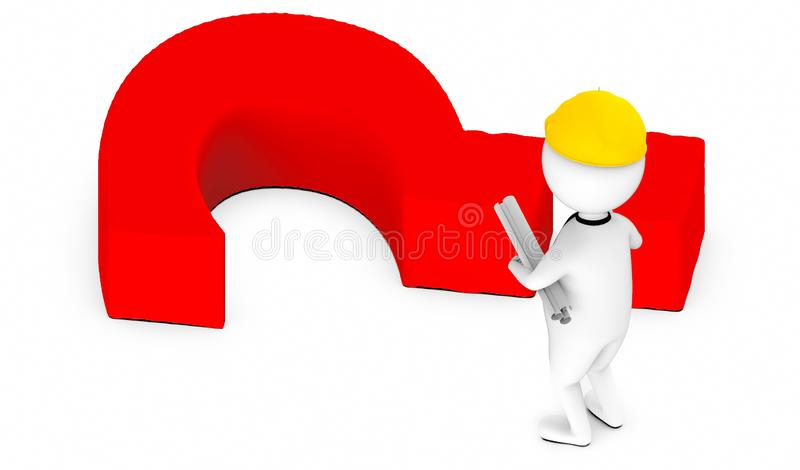3d white guy , wearing safety helmet and hold drafts-question mark lying on ground stock illustration