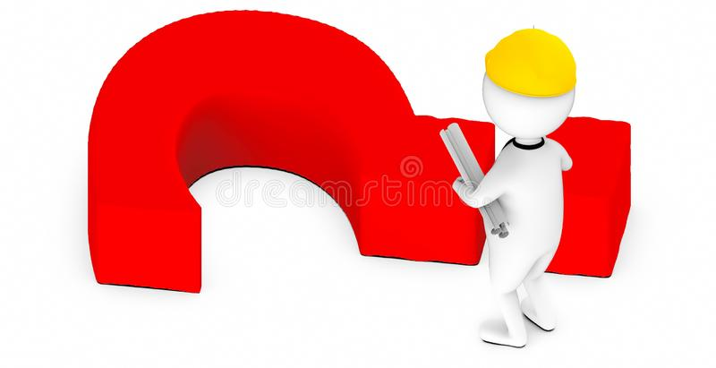 3d white guy , wearing safety helmet and hold drafts-question mark lying on ground vector illustration