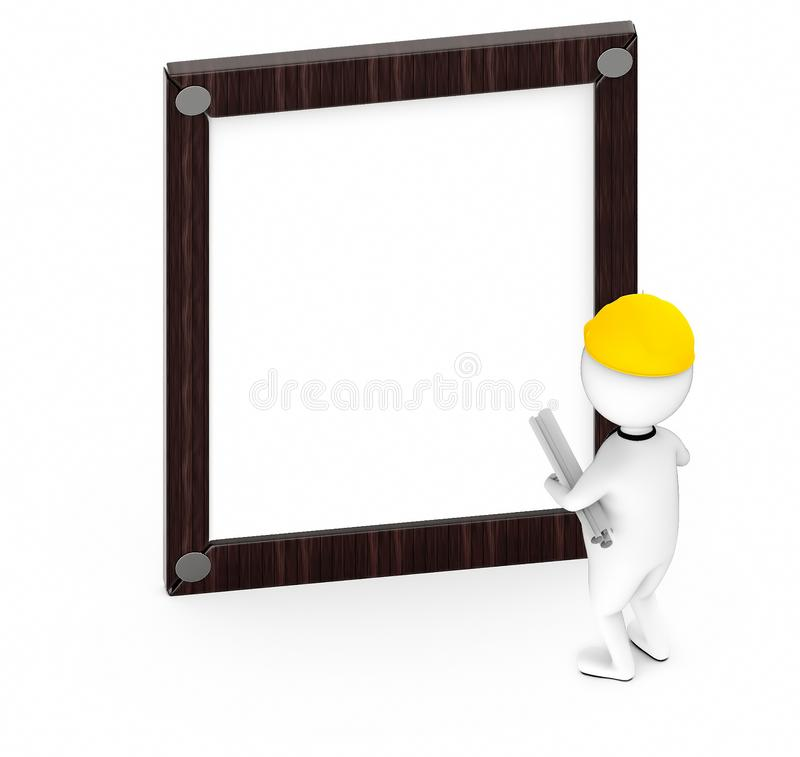 3d white guy , wearing safety helmet and hold drafts-Wooden empty frame stock illustration