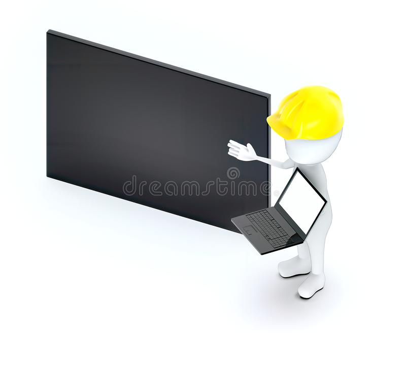 3d white guy , wearing a safety helmet and holding a laptop - empty black board copy space. 3d rendering stock illustration