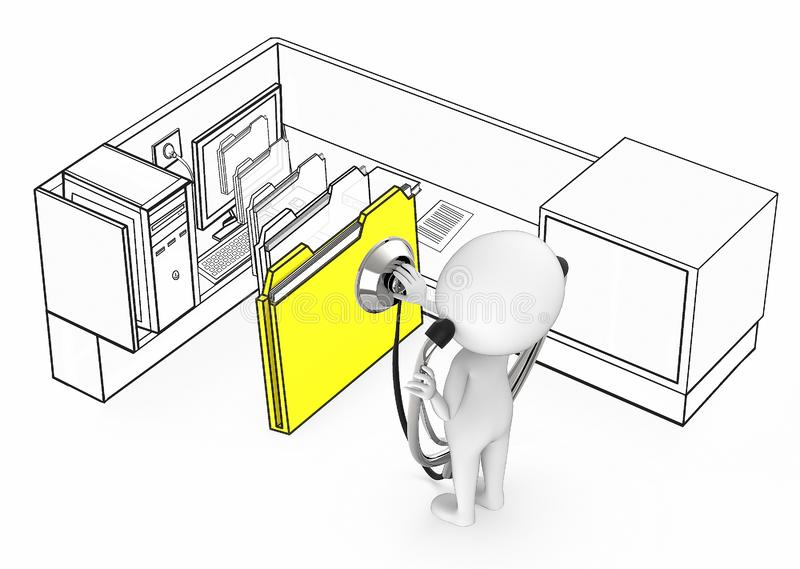 3d white guy wearing stethoscope and diagnosing file folder coming out from a monitor of a computer inside a office cubicle vector illustration