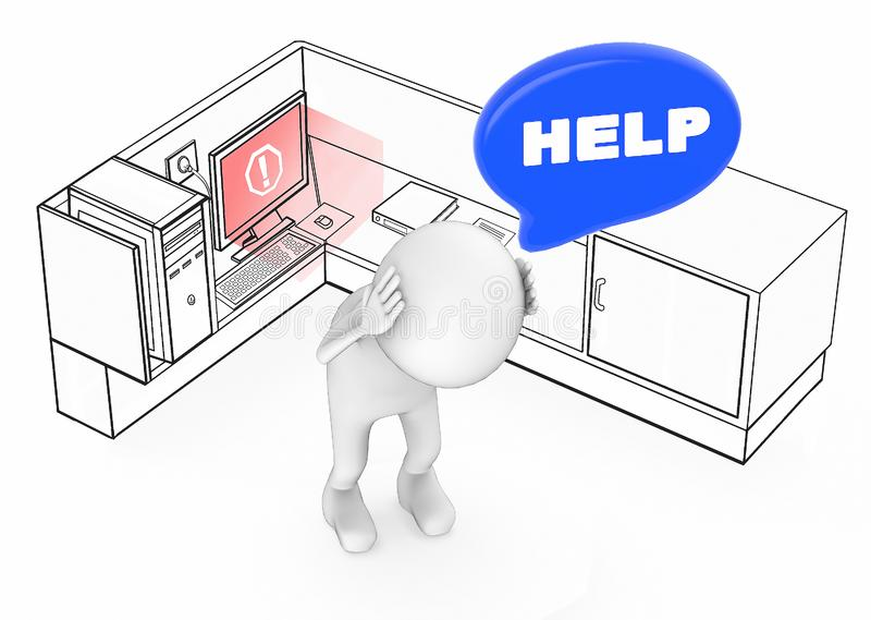 3d white guy worried stressed and in need of help when his computer becomes unstable / error inside a office cubicle royalty free illustration