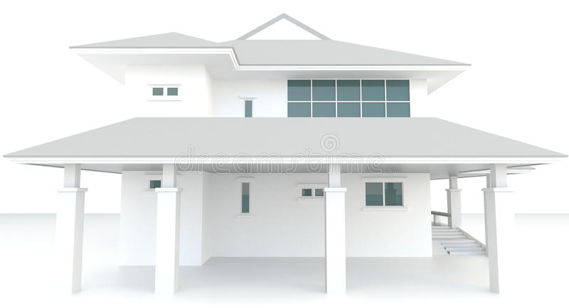 3D White House Architecture Exterior Design In Whi Stock ...