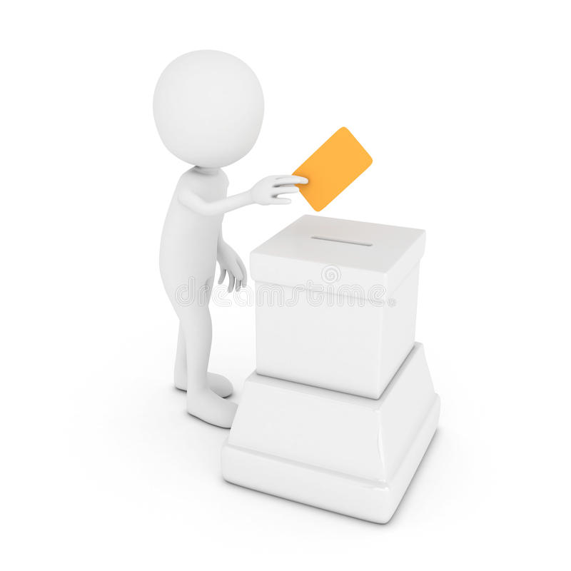 3d white human with blue pos. Terminal royalty free illustration