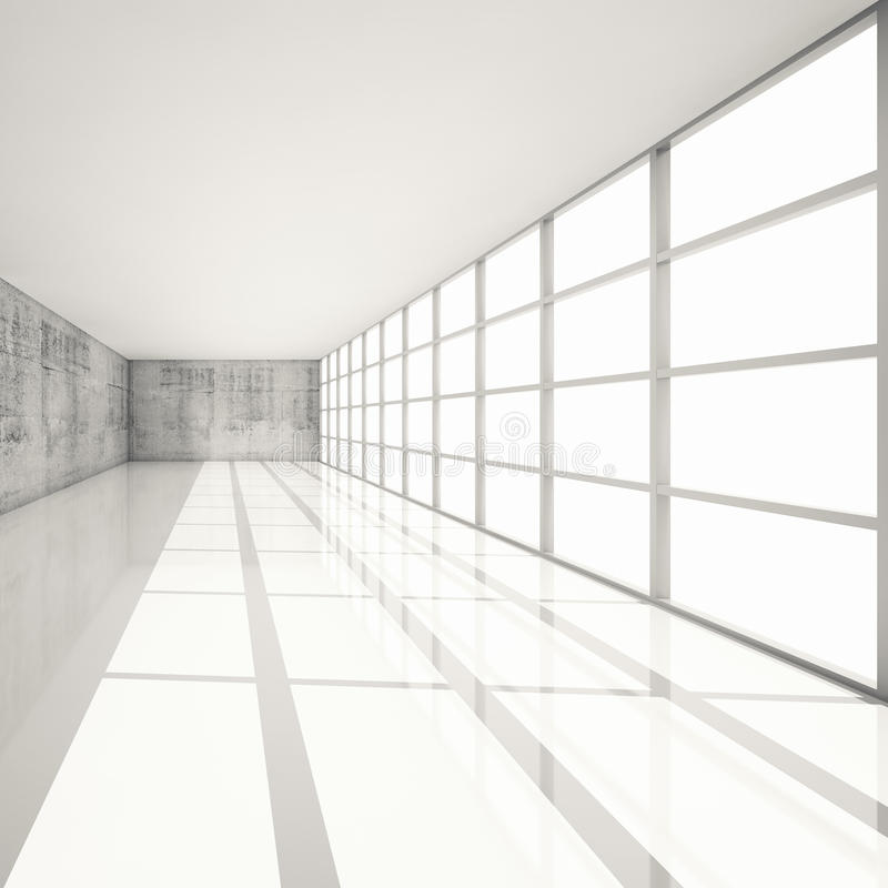 Download 3d White Interior With Bright Windows And Concrete Walls Stock  Illustration   Illustration Of Floor