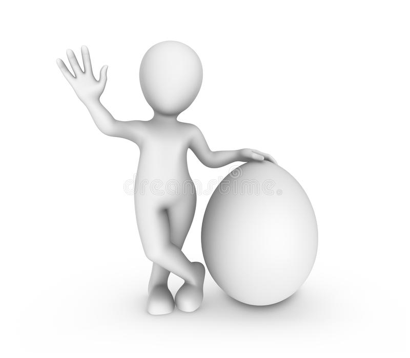 3d white man with big white egg. royalty free illustration