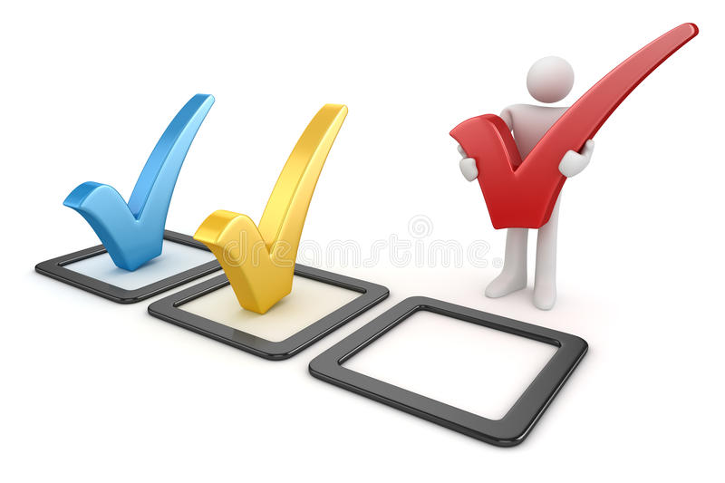 3d white man and colorful checkmark symbol vector illustration