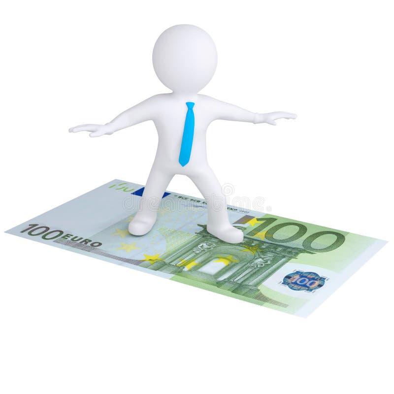 3d white man flying on the euro bill vector illustration