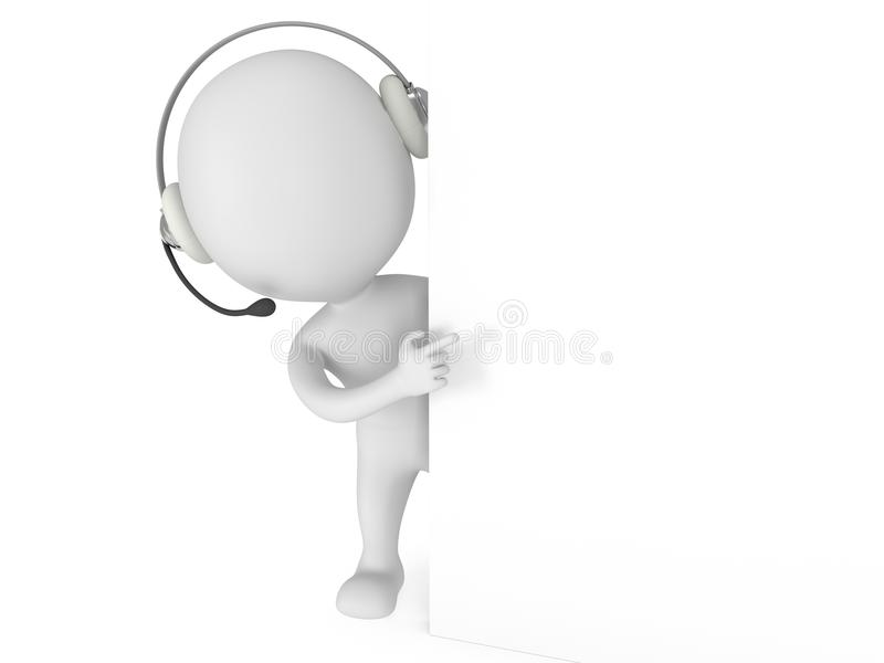 3d White Man With Headset Stock Illustration