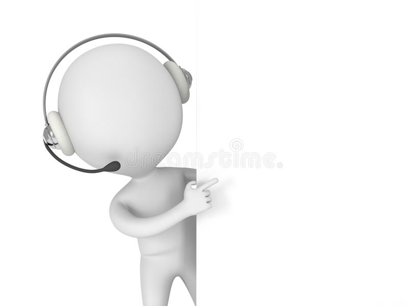 Download 3d white man with headset stock illustration. Image of media - 43555569
