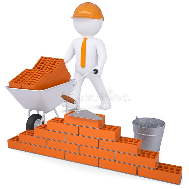 3d white man in a helmet builds a wall royalty free illustration
