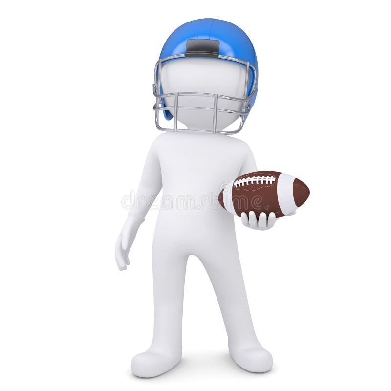 3d white man in helmet holding football ball. Isolated render on a white background stock illustration