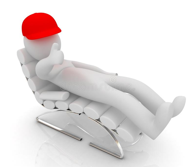 3d white man lying chair with thumb up white background royalty free illustration