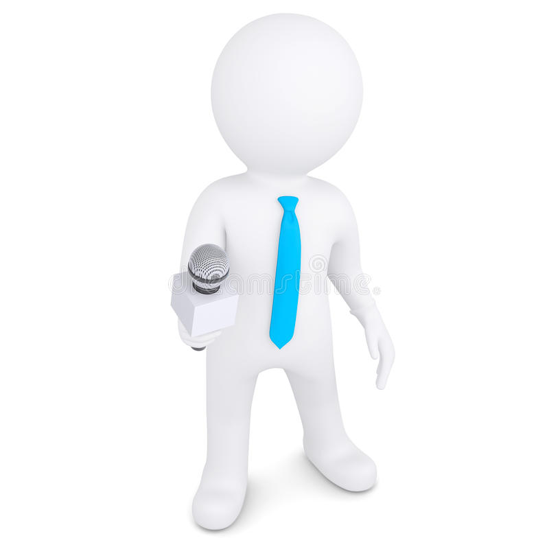 Download 3d White Man With A Microphone Stock Illustration - Image: 31937150