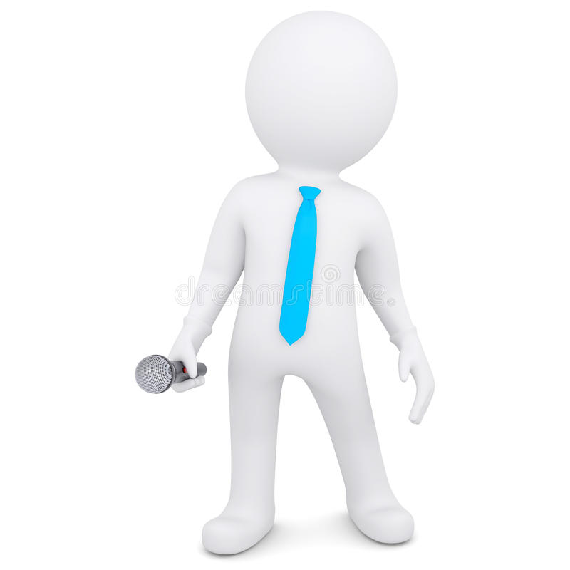 3d White Man With A Microphone Royalty Free Stock Images