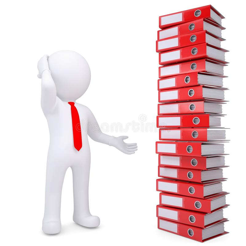 Download 3d White Man Next To Stack Of Office Folders Stock Illustration - Illustration: 30127429