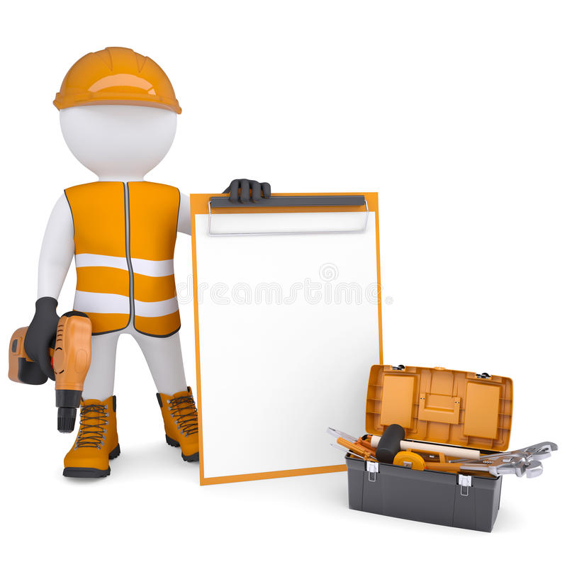 3d white man in overalls with checklists and tools vector illustration