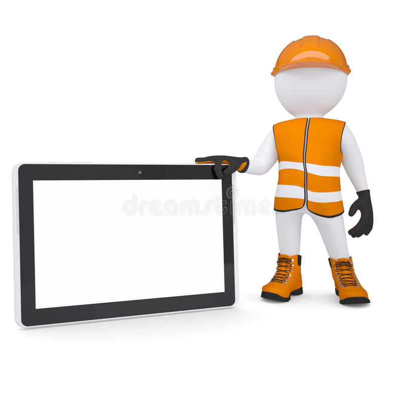3d white man in overalls holding a tablet PC