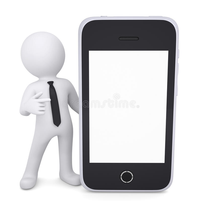 Download 3d White Man Points A Finger To Smartphone Stock Photo - Image of multimedia, banner: 31497438