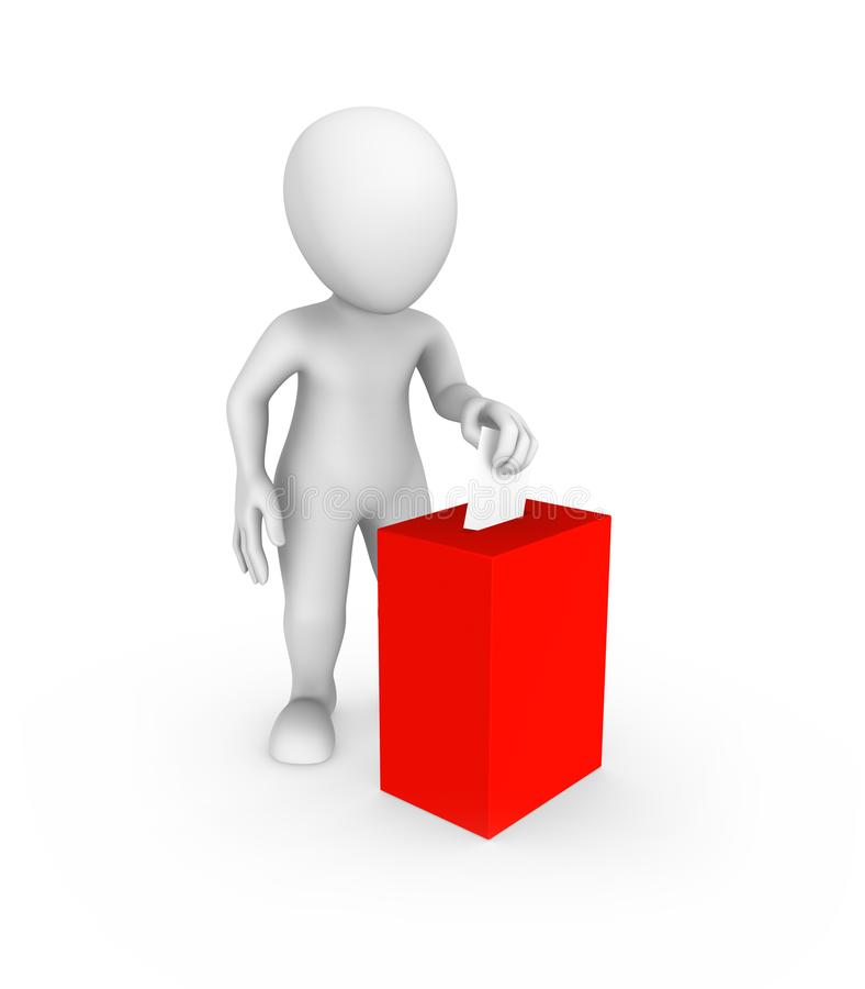 3d white man and red vote box stock illustration