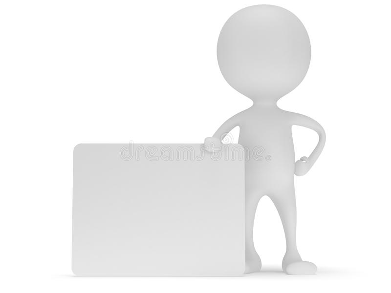 3d white man stand with blank white board. vector illustration