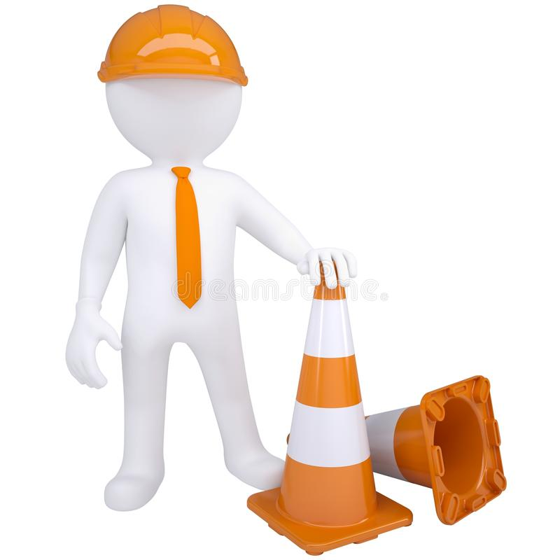 3d white man with traffic cones vector illustration