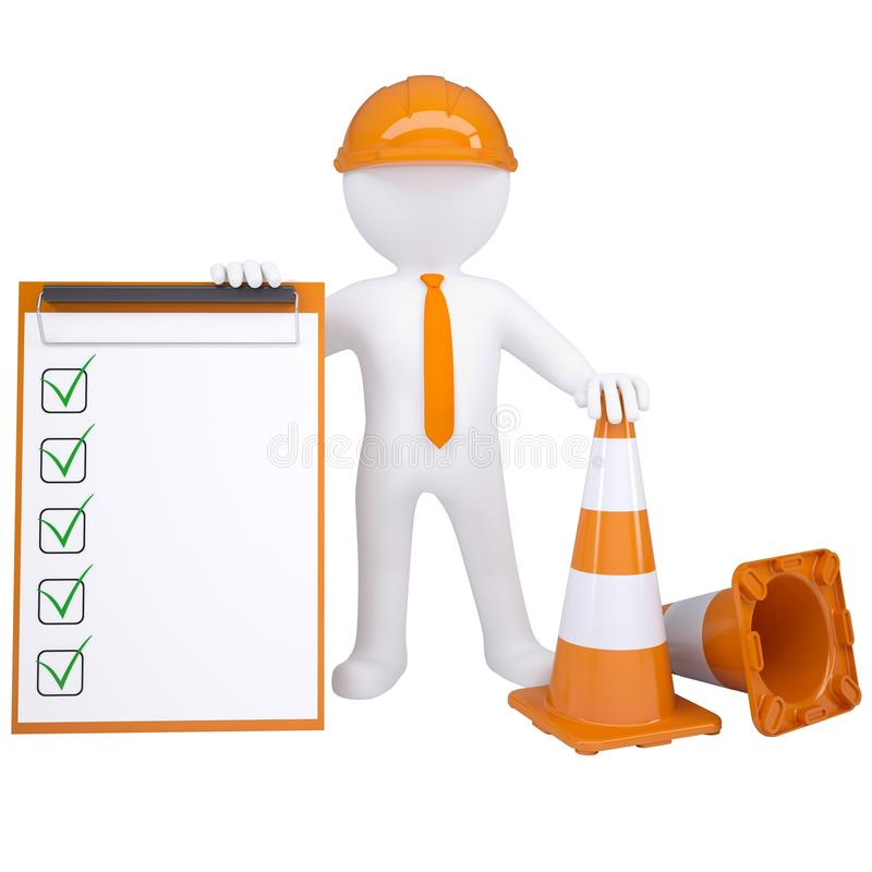 3d white man with traffic cones stock illustration