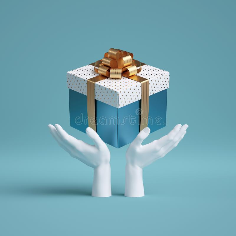 3d white mannequin hands holding wrapped gift box with golden ribbon bow. Seasonal festive clip art, isolated on blue background. royalty free illustration