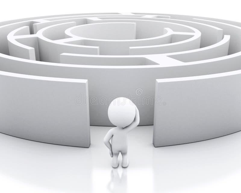 3d White maze. white background. royalty free illustration