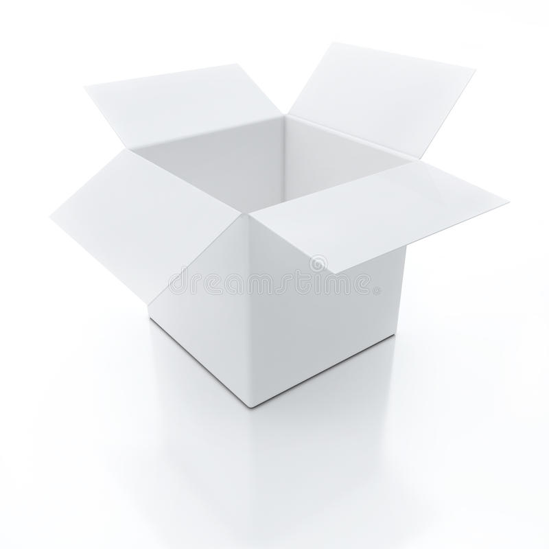 3D White Open Box With Reflection On White Background ...