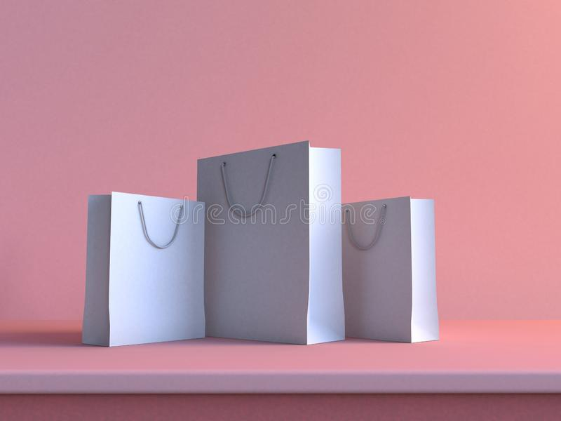 3d white paper bag mock up soft pink background minimal shopping concept stock photos