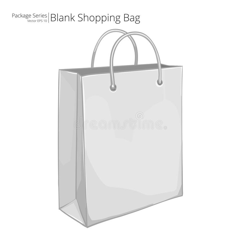 3D white paper shopping bag. Close up of 3D white plain unmarked paper shopping bag on white stock illustration