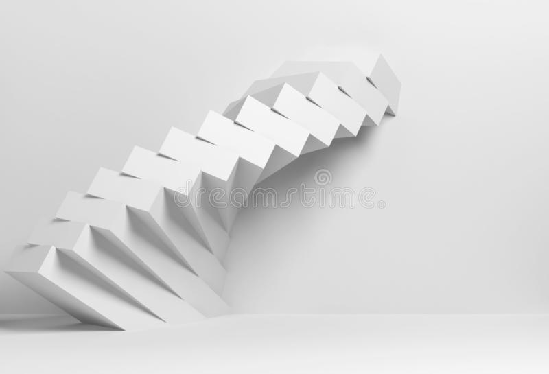 3d white parametric spiral installation. Abstract geometric architectural background, white parametric spiral installation of boxes on the wall, 3d render stock image
