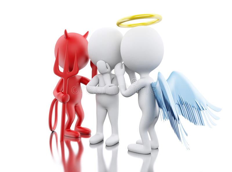 3D White people with Angel and Devil. stock illustration